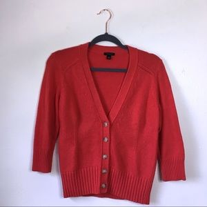 Ann Taylor Bright Red Button Down Cardigan, M